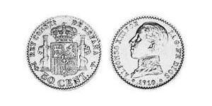 50 Centimo Kingdom of Spain (1874 - 1931) Silver Alfonso XIII of Spain (1886 - 1941)