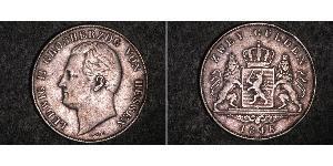 2 Gulden Hesse-Darmstadt (1806 - 1918) Plata Luis II de Hesse-Darmstadt