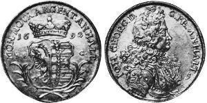 1 Талер Ангальт-Дессау (1603 -1863) / Анхальт (1806 - 1918) Серебро Иоганн Георг II (князь Ангальт-Дессау)(1627 – 1693)