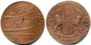 20 Cash Inde (1950 - ) Cuivre