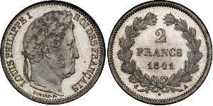 2 Franc Monarquía de Julio (1830-1848) Plata Luis Felipe I de Francia  (1773 -1850)