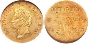 1 Gulden Regno di Baviera (1806 - 1918) Oro Ludovico I di Baviera (re)(1786 – 1868)