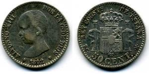 50 Centavo Kingdom of Spain (1874 - 1931) Silver