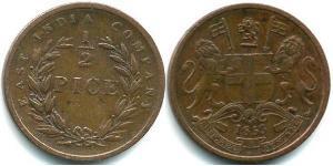 1/2 Paisa British Raj (1858-1947) Copper