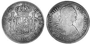 4 Real Vicereame della Nuova Spagna (1519 - 1821) Argento Carlo IV di Spagna (1748-1819)