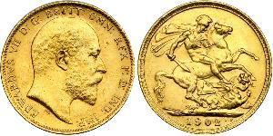 1 Соверен Соединённое королевство Великобритании и Ирландии (1801-1922) Золото Эдуард VII (1841-1910)
