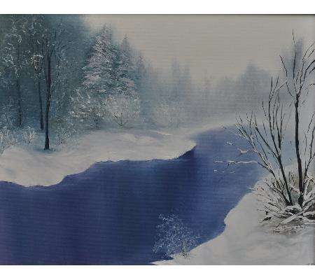 Winter river - oil painting