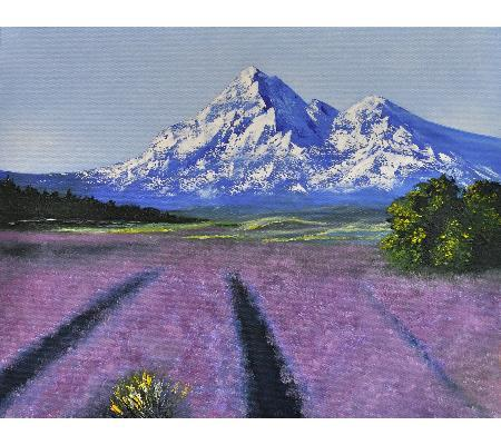Lavender field in mountain - oil painting