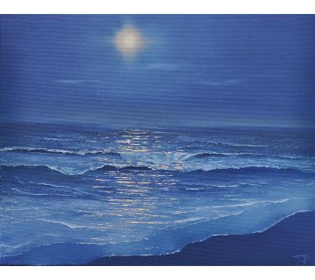Moonlight and ocean - oil painting