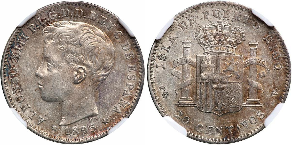 20 centavo 1895 puerto rico alfonso xiii of spain 1886 - Coin de finition plinthe ...