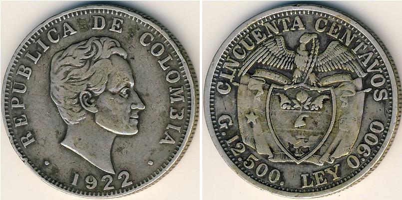 Moneda 50 centavo republica de colombia 1886 plata - Coin de finition plinthe ...