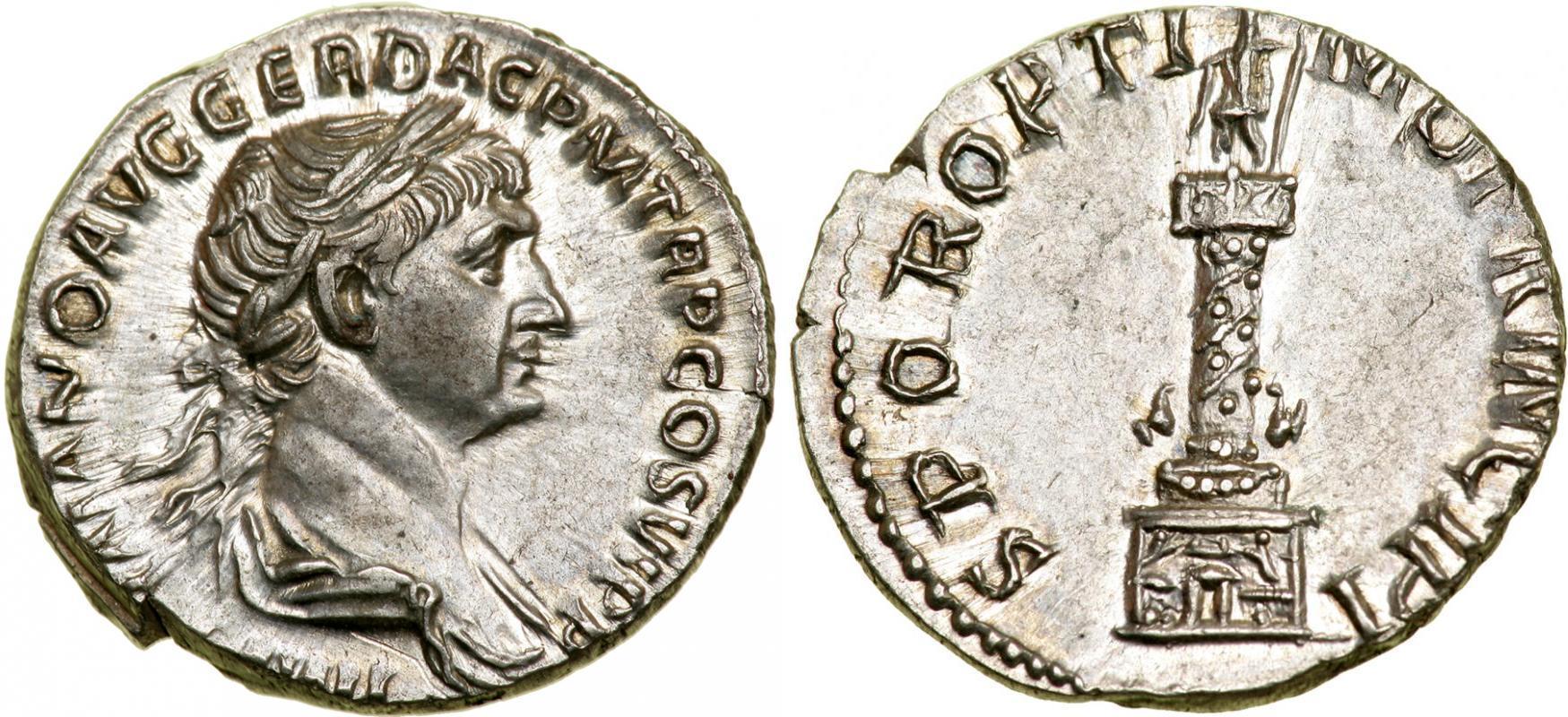1 denarius 112 114 roman empire 27bc 395 silver trajan - Coin de finition plinthe ...