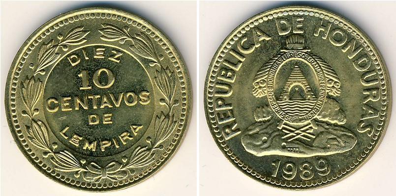 Moneda 10 centavo honduras lat n 1989 precio km 76 1 - Coin de finition plinthe ...