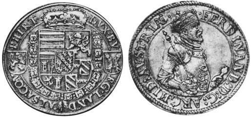 1 Thaler 1564 Alsace Silver Ferdinand Ii  Archduke Of