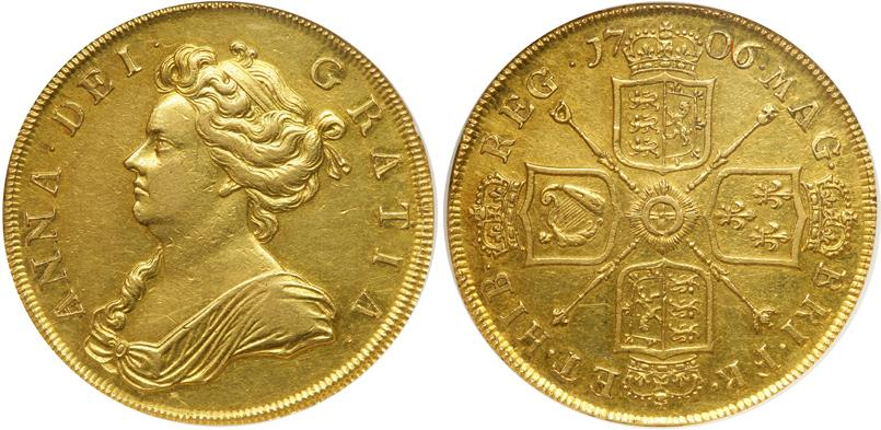 5 guinea 1706 kingdom of england 927 1649 1660 1707 gold - Coin de finition plinthe ...