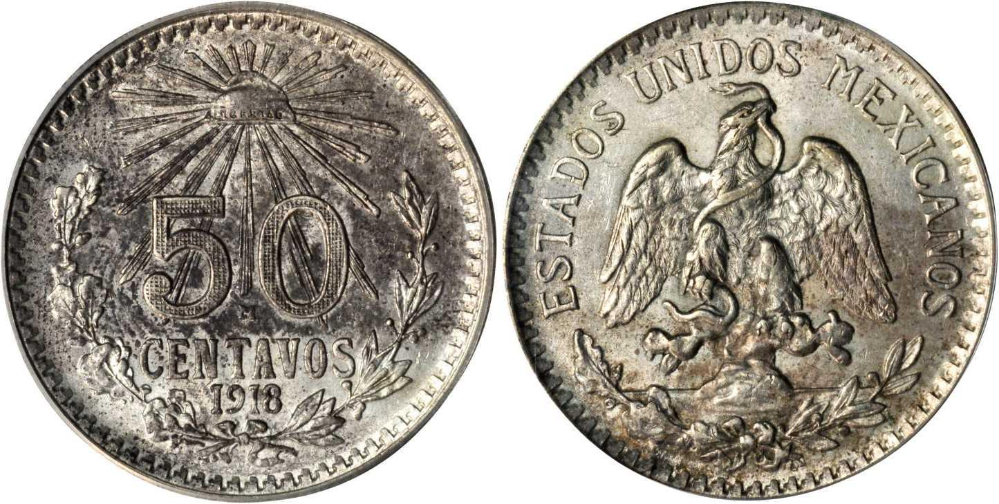 50 centavo 1919 united mexican states 1867 silver - Coin de finition plinthe ...