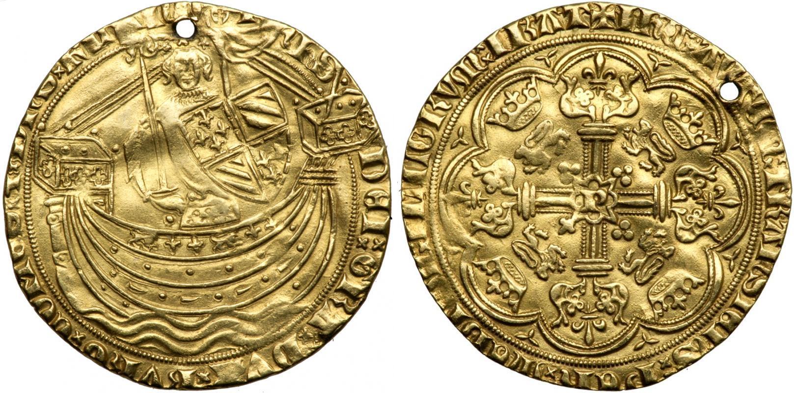 1 noble 1356 kingdom of england 927 1649 1660 1707 gold - Coin de finition plinthe ...