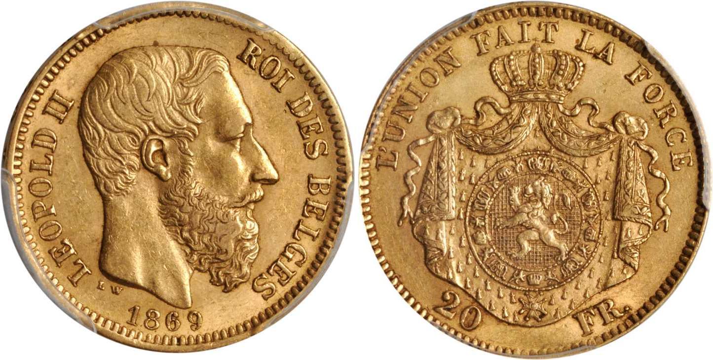 20 franc 1877 belgium gold leopold ii of belgium 1835 - Coin de finition plinthe ...